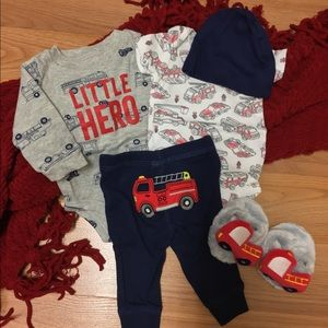 Carters Baby Boy Complete Fire Truck Outfit 🚒 NB
